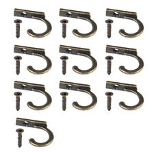 10pc Antique Brass Bronze Small Hook + Screws Coat Bag Hooks Hangings Hangers