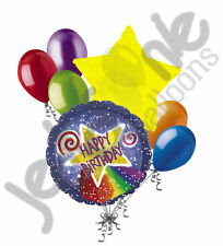 7 pc Watercolor Shooting Star Happy Birthday Balloon Bouquet Party Decoration