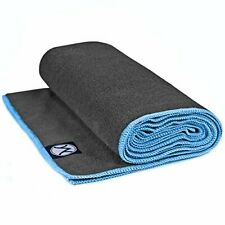 Youphoria 24-Inch-by-72-Inch Microfiber Yoga Towel (Gray Towel/Blue Stitching)