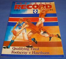 1985 AFL Football Footy Record Qualifying Final Footscray V Hawthorn 64 Pg MINT