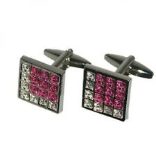 Square Pink & White Crystals Cufflinks Wedding Cruise Formal Present Gift Box
