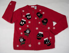 UGLY CHRISTMAS SWEATER WOMENS SMALL S MITTENS SNOWFLAKES DOGS BUTTONS BEADS