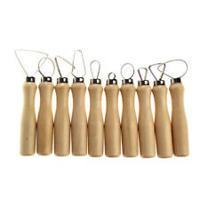 New 10 Pcs Wood Handle Pottery Clay Sculpture Carving Loop Hand Tool