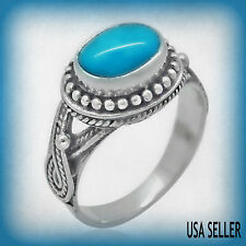 TGW 1.30 cts Bali Artisan Created Arizona Sleeping Beauty Turquoise (9 x 7) Ring