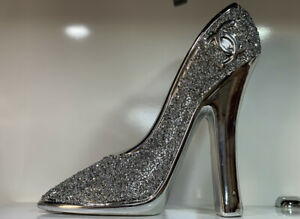 XL SILVER CRUSHED DIAMOND SPARKLY MODERN HEELS ORNAMENT BLING GIFT,SHELF SITTER✨