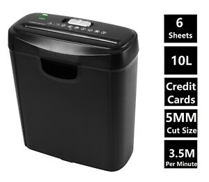 Econo Strip Cut Paper Shredder for Home Office Electric 6 A4 Sheets 10L Litre