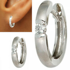 15 mm Diamanten Creolen 585 echt Weißgold Ohrringe 14 Karat 0,10 ct Damen Herren