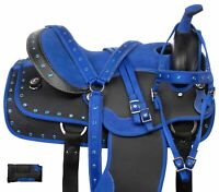 15 16 17 Synthetic Western Horse Saddle Tack Pad Bridle Reins Breastplate