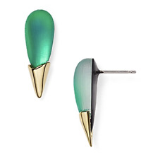 Alexis Bittar 1510 Lucite Liquid Metal Capped Spike Stud Earrings $100