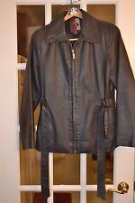 G III Women's 100% Leather Belted Jacket Black Size M Pre-Owned EXC Condition