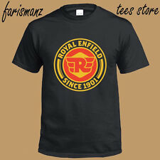 New Royal Enfield Motorcycle Famous Logo Men's Black T-Shirt Size S to 3XL