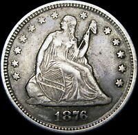 1876 Seated Liberty Quarter Silver Type Coin ---- L@@K ---- #B044