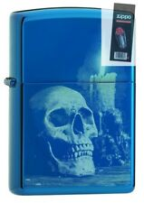 Zippo 29704 Skull and Candle Sapphire Blue Finish Full Size Lighter + FLINT PACK