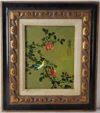 """Oil Painting on Board Asian Art Birds & Flowers Framed Art HomeDeco (16"""" x 14"""")"""