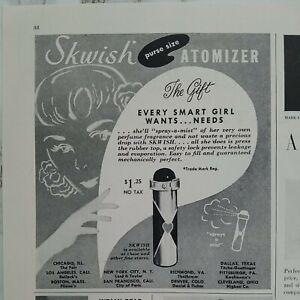 1951 Skwish purse size perfume spray a mist atomizer vintage original ad