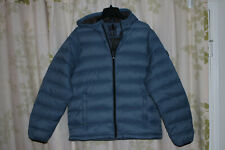 Abercrombie&Fitch Men's 700 Down Packable Puffer Hooded Jacket Blue NEW L