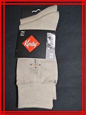 KINDY POINTURE 39 à 42 NEUF Lot de 2 paires  chaussettes homme beige FIL ECOSSE