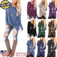 Women Basic Sweater Round Neck Long Sleeve Casual Loose Pullover Hot Tops Blouse