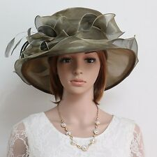 New Church Kentucky Derby Wedding Party Organza Wide Brim Dress Hat 383 Bronze