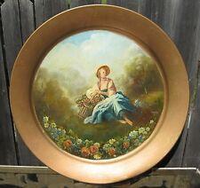 Handpainted Vintage Tray Romantic Lady Meadow Scene-Basket of Flowers