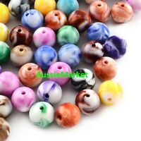 50 x beads acrylic colourful jewellery round mixed colours spacer 7mm loose new