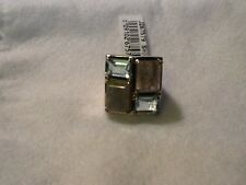 Multi Stone Sterling Silver Wide  Ring 9 16.5 grams new sz9