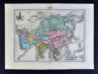 1877 Migeon Map - Asia China Japan India Siberia Korea Tibet - Porcelain Pagoda