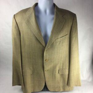 Ermenegildo Zegna Mens Suit Jacket Beige Glen Check Notch Lapel Lined Pockets M