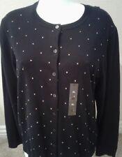 Karen Scott Long Sleeve Button Down Cardigan Sweater BLACK XL NEW