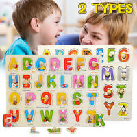 2X Wooden Uppercase Letters Block Puzzle Board Early Education   ! T New