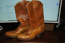 Vtg Men Dingo Boots #5907 Brown Leather Pull Straps Cowboy Western Rodeo 8.5 D