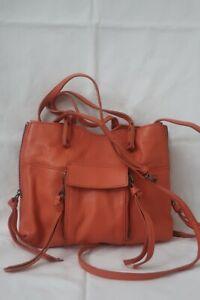 Kooba Coral Pink Leather Small Crossbody Shoulder Satchel Purse Zippers Bag EUC!
