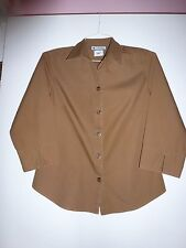 COLUMBIA, SZ S, 3/4 LENGTH SLEEVES, BUTTON UP, BROWN SHIRT