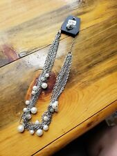 Paparazzi Long Necklace & Earring set (new)SILVER CHAINS W/ PEARL BEADS 699