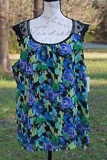 Kim Rogers Plus Size 3XL Women's Floral Career Top Lace Top Multi Color NWT (AI)