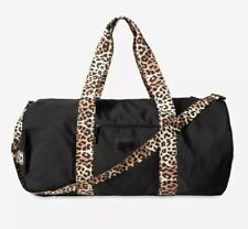 Victorias Secret Pink Weekender Duffle Bag Pure Black with Leopard Cheetah NWT