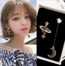 Korean Style Moon Star Planet Drop Dangle Earrings Asymmetric Women's Jewelry