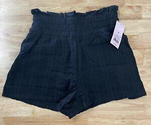 NEW Wild Fable Women's High-Rise Paperbag Waist Shorts Black Sz XS Elastic Waist