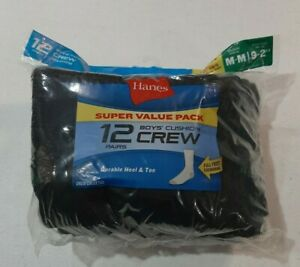 Hanes Boys 12 Pair Cushion Crew Socks Size Medium (9 - 2.5) Super Value Black