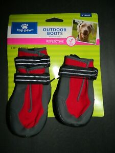 (NEW) TOP PAW OUTDOOR BOOTS FOR DOGS, REFLECTIVE RED X-LARGE 1 SET, 4 PCS #PAL46