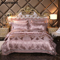 Silver Golden Queen King Size Bedding Sets Luxury Silk Satin Bed Set Bed Sheet