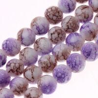 Purple Coffee White Splash-ink Lampwork Round Glass Beads 8mm-50 Beads