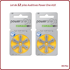 Lot de 12 piles boutons auditives A10 Power One, livraison rapide et gratuite