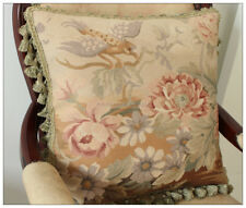 """18"""" Antique French Style Wool Aubusson Throw Pillow Cover Velvet Lining Tassels"""