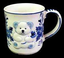 Vintage DELFT BLUE Coffee Mug BEAR & FLOWERS Hand Painted Sculpted D.A.I.C.