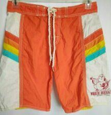 True Religion Mens Board Shorts Drawstring Swim Trunks Orange White Size 28