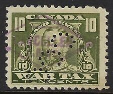 Perfin C8-CCC (Canada Cement Co), Van Dam FWT13, 10c KGV War Tax Revenue, Pos. 4