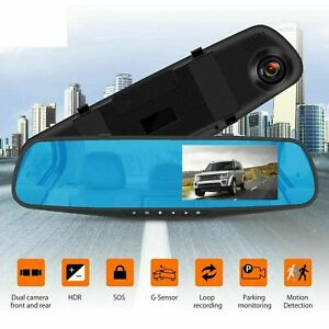 """4.3"""" 1080P Dual Lens Car Dash Cam Front and Rear Camera DVR Touch Recorder Video"""