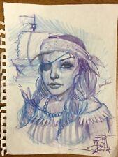 Original Big Gus Tattoo Flash Artwork Pirate Girl Paper Blue Purple Spiral Torn