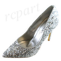 New women's evening classic pointed toe shoes high heel formal wedding silver